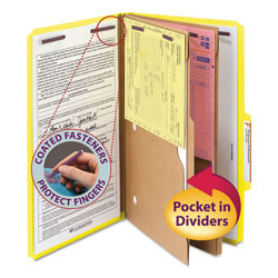 Smead Six Section Pressboard Folders with 2 Pocket Dividers, Legal, Yellow, 10/Box