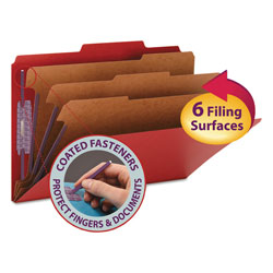 "Smead Classification Folders, 8 Section, Legal, 2/5 Cut, 3"" Exp., Bright Red, 10/Box"