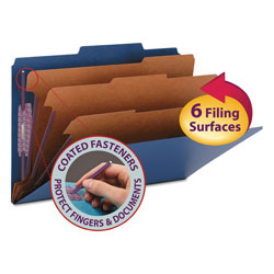 "Smead Classification Folders, 8 Section, Legal, 2/5 Cut, 3"" Exp., Dark Blue, 10/Box"