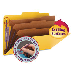 "Smead Classification Folders, 8 Section, Legal, 2/5 Cut, 3"" Expansion, Yellow, 10/Box"