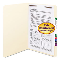 "Smead Manila Folders with One 2"" Capacity Fastener, Legal, Straight Cut, 50/Box"