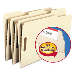 Smead Recycled Manila Two Ply Top Tab File Folders with Fasteners, Legal Size