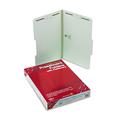 "Smead 2 Fastener Gray Green Pressboard Folders, Legal, 2/5 Cut, 1"" Exp., 25/Box"