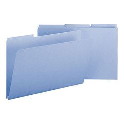 Smead Pressboard File Folders, Top Tab, Legal, 1/3 Cut, Blue, 25/Box