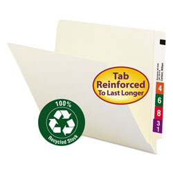 Smead 100% Recycled End Tab Folders, Reinforced Tab, Letter Size, Manila, 100/Box