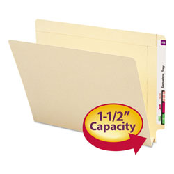 "Smead Manila End Tab Expan. Folders, 1 1/2"" Capacity, Double Ply Tab, Letter, 50/Box"