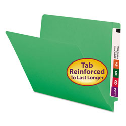 Smead End Tab Folders, Double Ply Straight Cut Tab, Letter Size, Green, 100/Box