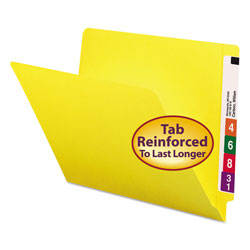 Smead End Tab Folders, Double Ply Straight Cut Tab, Letter Size, Yellow, 100/Box