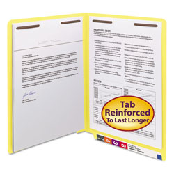 "Smead End Tab Folders, 3/4"" Expansion, 2 Fasteners, Letter, Yellow, 50/Box"