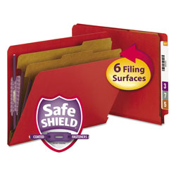 Smead Pressboard End Tab Folders, Letter, Six-Section, Bright Red, 10/Box
