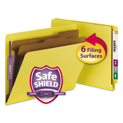 Smead Six Section Pressboard End Tab Classification Folders, Letter, Yellow, 10/Box