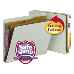Smead 6 Section Pressboard End Tab Classification Folders, Letter, Gray Green, 10/Box
