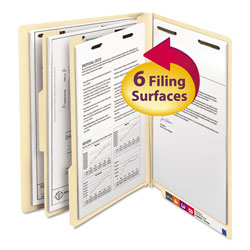 Smead Six Section Manila End Tab Classification Folders, Letter Size, 10/Box