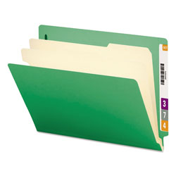 Smead Colored End Tab Classification Folders with 2 Dividers, Letter Size, Green