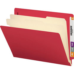 Smead Colored End Tab Classification Folders with 2 Dividers, Letter Size, Red, 10/Bx