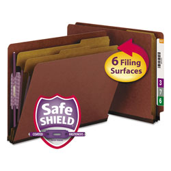 Smead Six Section End Tab Classification Folders, Pressboard, Red, Letter, 10/Box