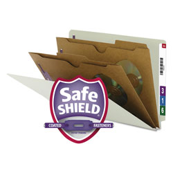Smead 6 Section Pressboard End Tab Classification Folders, 2 Pockets, Legal, 10/Box