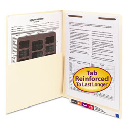 Smead Manila End Tab Pocket Folder with 1 Fastener, Letter Size, 50/Box