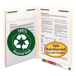 Smead End Tab Fastener Folders, 100% Recycled, 2 Fastener, Letter Size, 50/Box