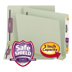 "Smead Pressboard End Tab Folders, 3"" Expansion, 2 Fasteners, Letter, 25/Box"