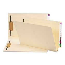 "Smead End Tab Folders, 1 1/2"" W Fold Exp., 2 Fasteners, 14 pt. Manila, Legal"