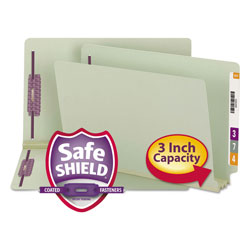 "Smead Pressboard End Tab Folders, 3"" Expansion, 2 Fasteners, Legal, 25/Box"