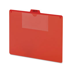 "Smead Red Vinyl Top Tab ""OUT"" Guides, 3 x 5 & Letter Size Pockets, 50/Box"