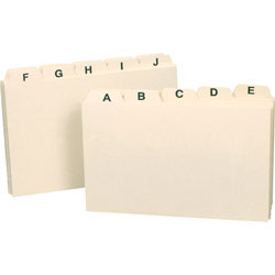 Smead Plain Self Tab A Z Manila Card Guides, 3 x 5, 1/5 Tab Cut, 25/Set