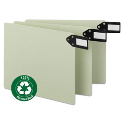 Smead Pressboard End Tab Guides, Horizontal Metal Tabs, Blank, Letter, Green, 50/Box