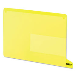 Smead Vinyl End Tab Outguides with Two Pockets, Letter Size, Yellow, 25/Box
