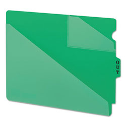 Smead Vinyl End Tab Outguides, Two Diagonal Cut Pockets, Letter Size, Green, 50/Box
