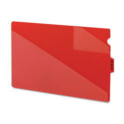 Smead Vinyl End Tab Outguides, Two Diagonal Cut Pockets, Legal Size, Red, 50/Box