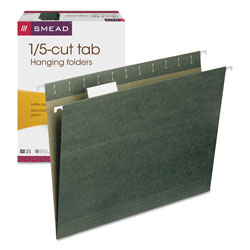 Smead Hanging File Folders, Letter Size, 1/5 Tab Cut, Green, 25/Box