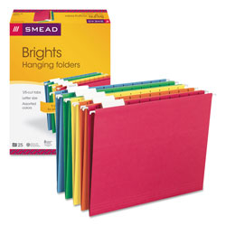 Smead Assorted Color Hanging Folders, Letter Size, Matching 1/5 Cut Tabs, 25/Box