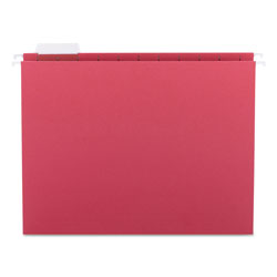 Smead Hanging Folders, Recycled, Letter Size, Red, Color Matched 1/5 Tabs, 25/Box