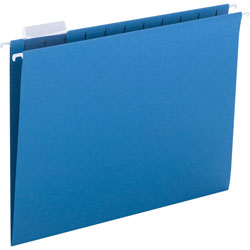 Smead Hanging Folders, Recycled, Letter Size, Sky Blue, Color Matched 1/5 Tabs, 25/Box