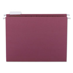 Smead Hanging Folders, Recycled, Letter Size, Maroon, 1/5 Cut Pink Tabs, 25/Box