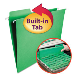 Smead Hanging Folders w/2-Ply Tabs Attached, 1/3Tab, Letter, Green