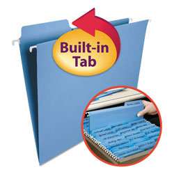 Smead Hanging Folders w/2-Ply Tabs Attached, 1/3 Tab, Letter, Blue