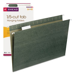 Smead Hanging File Folders, Legal Size, 1/5 Tab Cut, Green, 25/Box