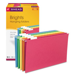 Smead Assorted Color Hanging Folders, Legal Size, Matching 1/5 Cut Tabs, 25/Box