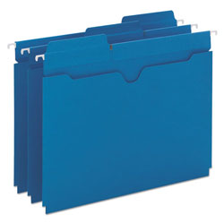 Smead Flat Hanging File Jackets, Letter, 1/5 Tab Cut, Sky Blue, 25/Box