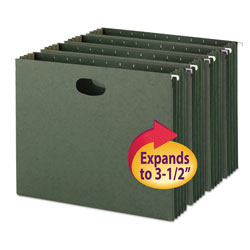 "Smead Expandable Hanging File Pockets, Letter Size, 3 1/2"" Cap., Standard Green, 10/Bx"