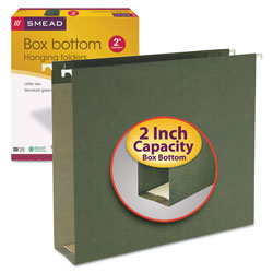 "Smead 2"" Capacity Box Bottom Hanging File Folders, Letter, Green, 25/Box"