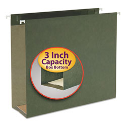 "Smead Box Bottom Hanging Folders, Letter Size, 3"" Capacity, Green, 25/Box"