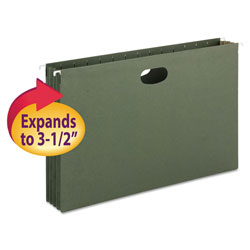 "Smead Expandable Hanging File Pockets, Legal Size, 3 1/2"" Cap., Standard Green, 10/Bx"