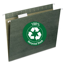 Smead 100% Recycled Hanging File Folders, Letter Size, 1/5 Cut Tab, Green, 25/Box
