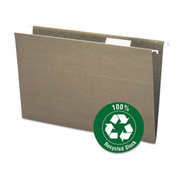 Smead 100% Recycled Hanging File Folders, Legal Size, 1/5 Cut Tab, Green, 25/Box