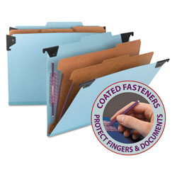 Smead Hanging Classification Folder, 6 Section, Blue Pressboard, Letter