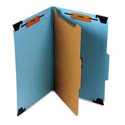 Smead Hanging Classification Folder, 4 Section, Blue Pressboard, Legal